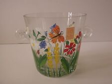 Royal Danube Crystal  Ice Bucket - Hand Painted Flowers & Insects