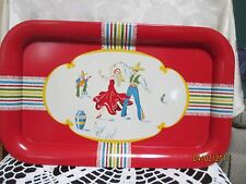 "Vintage TV/Snack Metal Tray Red decorated with Mexican Fiesta  Dancers  14""x 9"""