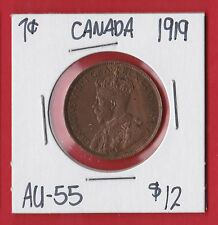 1919 Canada Large One Cent Penny Coin Almost Uncirculated AU-55  7676  Trend $12