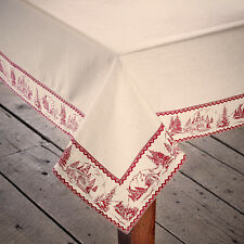 "CABIN CHRISTMAS TABLE CLOTH / TOPPER 40X40"" RED / ANTIQUE WHITE CABIN SCENE"