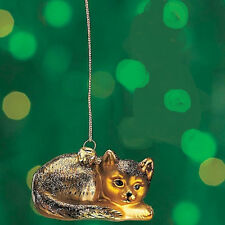 HAND BLOWN GLASS Cat ORNAMENT new!  WITH DUSTING OF SHIMMERING GLITTER By Cobane
