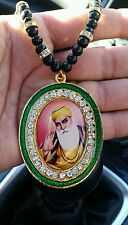 GOLD Plated Punjab Sikh GURU NANAK Pendant Car Rear Mirror Hanging MALA - Green