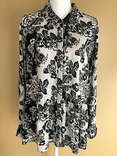 STYLE & COMPANY XL Black Gray Floral Long Sleeve Blouse Button Tunic Hi Low