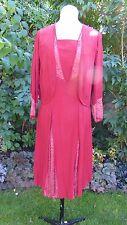 Original vintage années 1930 coupe en biais rouge vif soie crêpe dentelle robe veste sz 8 10
