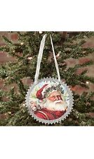 """Vintage Country Greeting Card Style Christmas Ornament, Santa Claus, 4.5"""""""