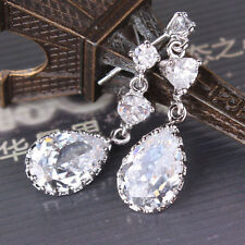 Designer earrings! 18k white GF white Swarovski crystal cool dangle earring