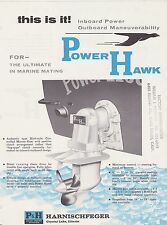 VINTAGE AD SHEET #1853 - P&H DIESEL ENGINE POWER HAWK OUTBOARD BOAT MOTOR