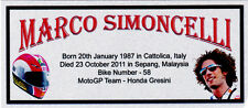 MARCO SIMONCELLI MOTOGP SUBLIMATED SILVER METAL PLAQUE FOR FRAMING