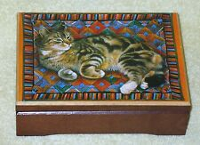 Lesley Anne Ivory cat wooden music box. 1989 The San Francisco Music Box Company