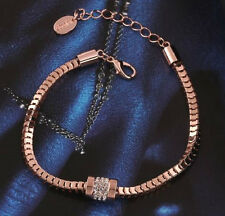 HIGH END ROSE GOLD PLATED CRYSTAL BEAD CHARM SNAKE CHAIN BRACELET