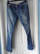 "Topman men`s blue jeans with button fastening size 34"" waist"