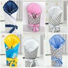 new BABY SWADDLE WRAP SNUGGLE NEWBORN BLANKET RIBBON PRAM QUILT SLEEPING BAG