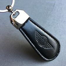 NEW MINI COOPER WING LOGO LEATHER LOOK BLACK KEYCHAIN KEY-CHAIN Key Ring KC031