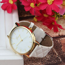 Unisex Casual Women Watch Geneva Checkers Faux Leather Quartz Analog Wrist Watch