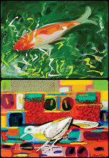 David Gerstein 6 fish & birds Table Placements Placemats Tischsets with 12 print