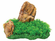 Large Rock with Grass FIsh Tank Aquarium Decoration Reptile Vivarium Ornament