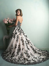 Wedding Dress Bride white  and black wedding dresses with black Appliqued Robe