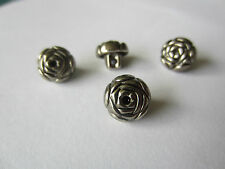 10x SILVER ROSE SHAPED SHANK BUTTONS 10MM