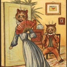 "SCARCE.! LOUIS WAIN CAT,ANGRY WIFE ""I WILL HAVE A NEW HAT!"" VINTAGE  POSTCARD"