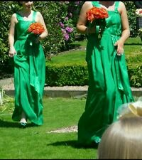 Emerald green floor length grecian dress and shoes to match