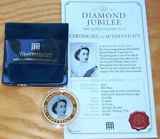 Jersey 2011 Diamond Jubilee Photo Portrait Gold Plated 50p Crown Coin & COA #