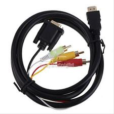 HDMI HDTV to VGA 3 RCA Converter Adapter Cable 1080p 5FT For Xbox 360 PS3 5