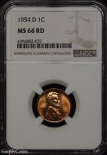 1954-D Lincoln Wheat Penny Cent ~ Ngc Ms66 Red ~ Stunning!