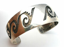 Terry Wadsworth Cuff Bracelet With Water Symbols Sterling Silver Zuni Vintage