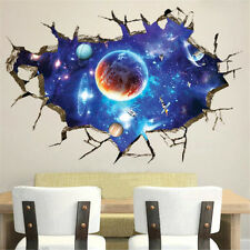 Removable Waterproof Wall Sticker 3D Space Planet Design Room Home Decoration