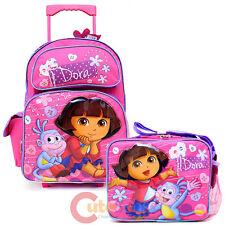 Dora The Explorer Large School Roller Backpack Lunch Bag 2pc Set-Lovely Flowers