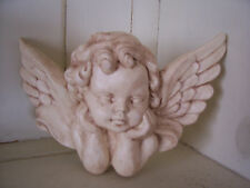 1 Architectural ornate plaster cherub angel faces wall hanging decor plaque new
