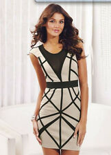 BNWT Lipsy Sexy Nude Black Bodycon Bandage Dress Size 12 Party Club RARE