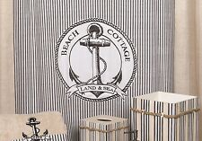 Nautical BEACH COTTAGE Heavyweight Cotton Fabric Shower Curtain Stripes Anchor