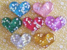 7 x Pretty Glitter Hearts Flatback Resin Embellishment Crafts Hair bow, Cabochon
