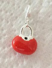 lOVELY RED & SILVER BAG WITH A BLACK SPOT 3D CLIP ON CHARM  - 925 SILVER PLATE