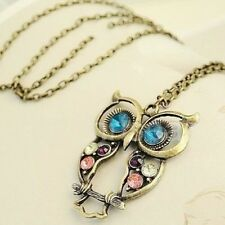 Beaute Galleria - Jewelry Multi-color Rhinestone Retro Owl Pendant Long Chain Ne