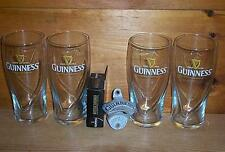 GUINNESS STOUT 4 GALAXY 20oz BEER PINT GLASSES & STATIONARY BOTTLE OPENER NEW