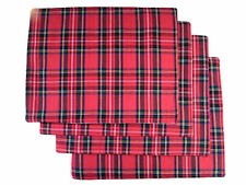 Table Placemats Red Tartan Plain Cotton Set of 4 Hogmany Christmas Gift