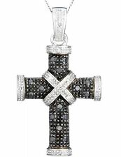 9ct Solid White GOLD 0.25ct Black & White Diamond Cross Pendant & Chain + Gift