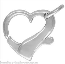 20mm STERLING SILVER HEART SHAPE PEARL / BEAD NECKLACE JEWELLERY CLASP CATCH