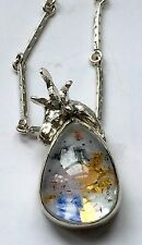 Silver deer girl enamelled necklace