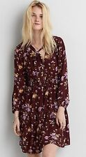 American Eagle Outfitters AEO Burgundy Floral Long Sleeve Flare Dress Size Large