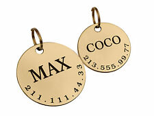 Personalised Pet Dog ID Tag Custom Engraved Name Brass Steel Round Disc