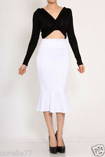 SEXY STRETCH HIGH WAIST MERMAID MID CALF RUFFLE PENCIL SKIRT (IVORY) sz MEDIUM