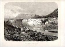 Stampa antica MONTALLEGRO veduta fiume Platani Agrigento Sicilia 1880 Old print