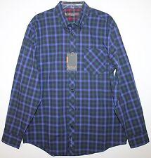 Ben Sherman Mens Union Blue Plaid Chest Pocket Button-Front Shirt NWT $70 L