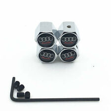 Chrome 4Pcs/Set Car Wheel Airtight Tyre Tire Stem Wrench Air Valve Caps For Audi