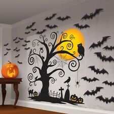 Halloween Huge Wall Decorating Kit Haunted Forest Spooky Tree Silhouette & Bats