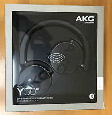 AKG Y50BT BLACK FOLDABLE HEADPHONES, Wireless Bluetooth ON EAR Black BRAND NEW