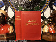 1913 Baedeker Travel Guides SWITZERLAND Swiss Alps Lucerne Voyages MAPS Atlas